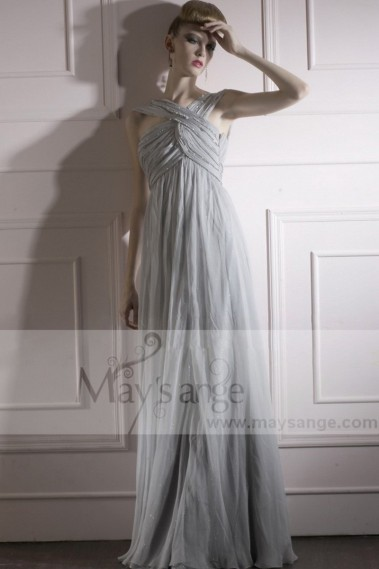 Long Silver Gray Ball Gown Prom Dress Draped And Crossed Top - L232 #1