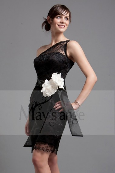 Straight cocktail dress - Black Lace Cocktail Dress - C009 #1
