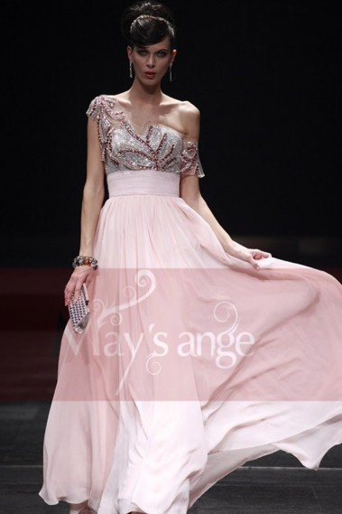 Evening Dress with straps - One Shoulder Long Pink Evening Dress With Embroidered Top - L174 #1