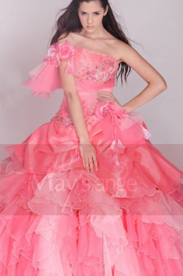 Strapless Evening Dress - Off-The-Shoulder Pink Prom Dress Princess Style - P033 #1