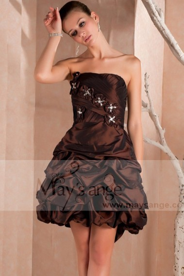 Glamorous cocktail dress - Short Strapless Brown Party Dress With Flowers - C224 #1