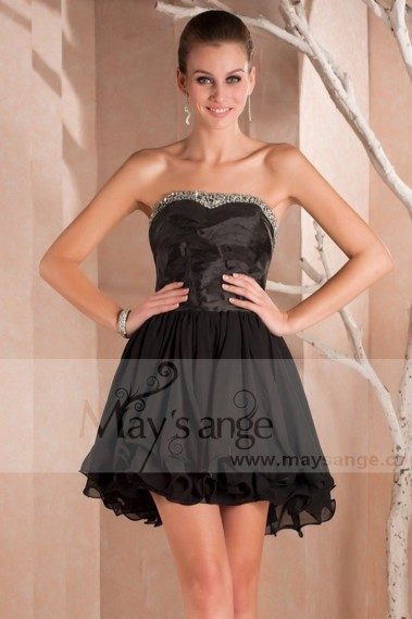Short cocktail dress - Black Strapless Prom Gown With Shiny Corset - C225 #1
