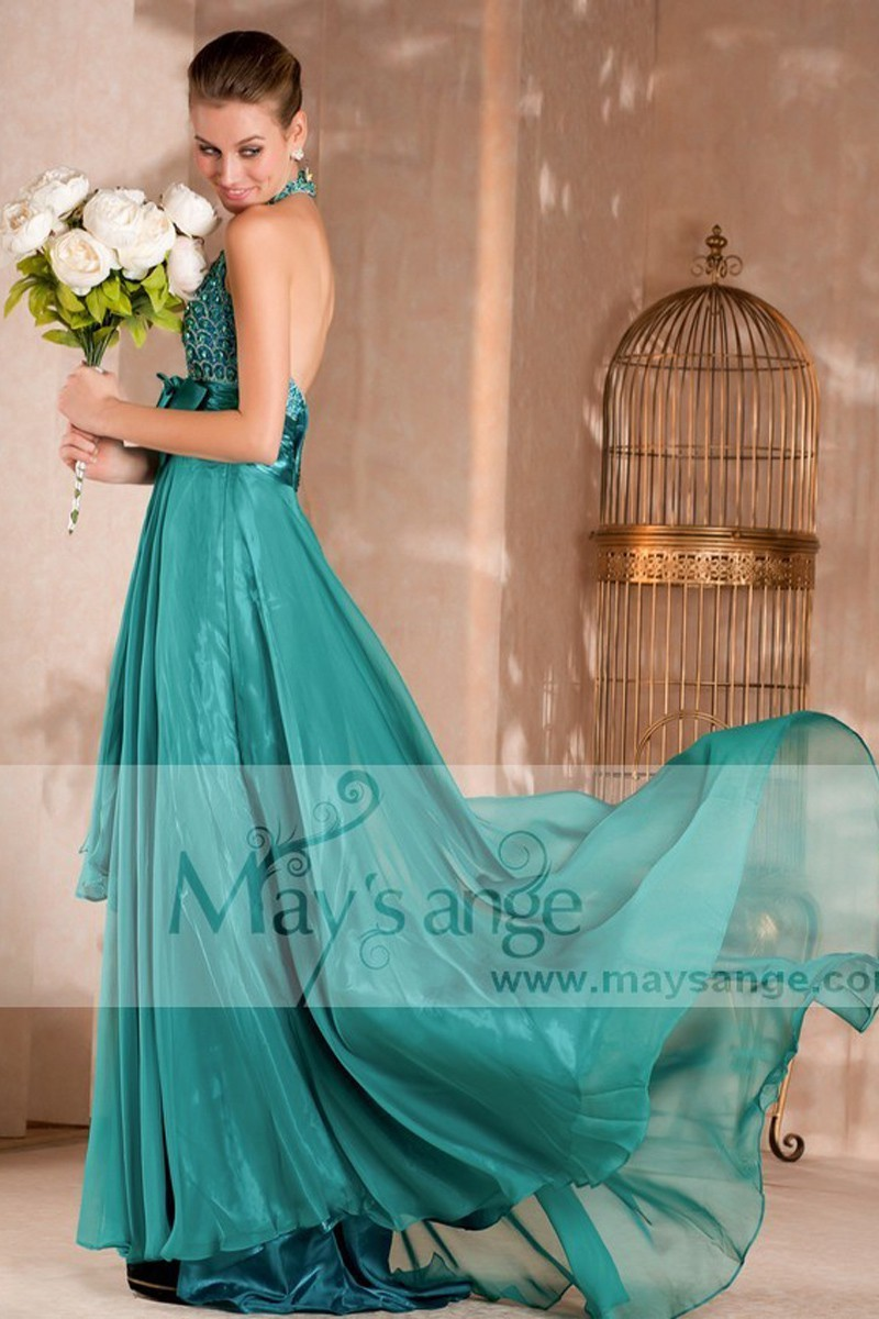 Long evening dress Aroma with backless and strass - Ref L077 - 01