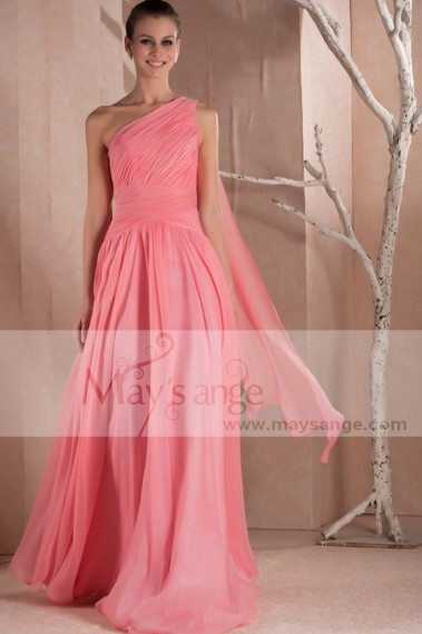 Pink evening dress - Evening gown dress Orange Coral with one veil strap - L240 #1