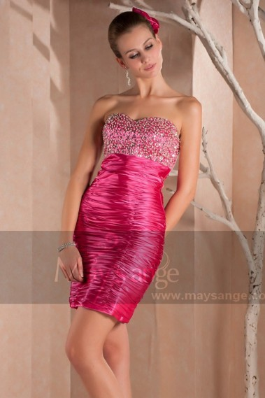 Straight cocktail dress - Short Strapless Pink Cocktail Dress With Sparkle Bodice - C226 #1