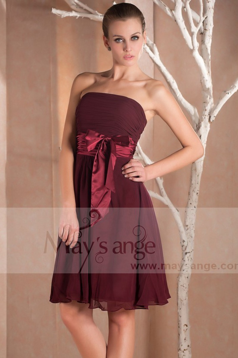 Robe de cocktail Maysange en mousseline bordeaux - Ref C229 - 01
