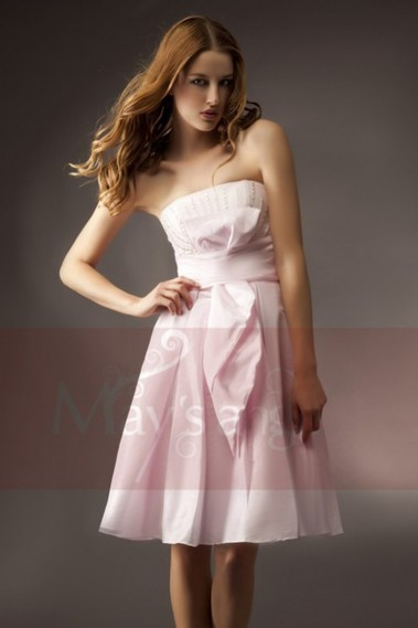 Robe de cocktail bustier bouton de rose