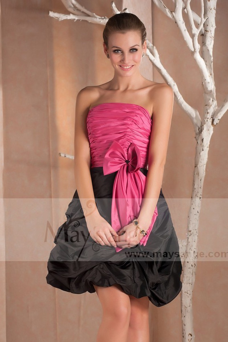 9914505301 Pink And Black Taffeta Short Ball Gown