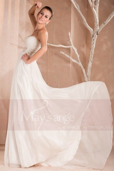 Fluid Evening Dress - Bustier Long White Formal Gowns With A Rhinestone Belt - L153 #1