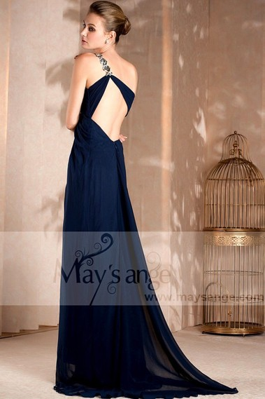 Long blue dress Beauty in muslin with backless and one strap - L009 #1