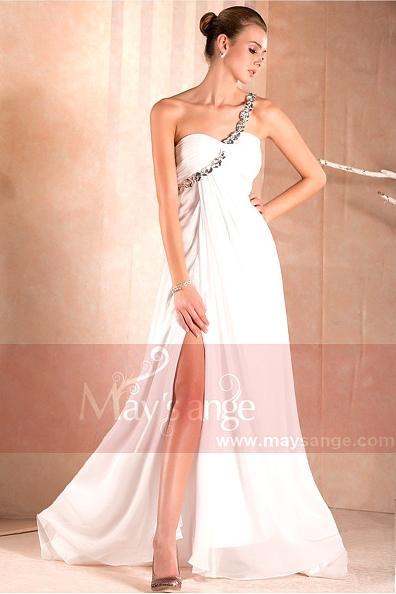 Open Back White Cocktail Dress With Glitter Strap - Ref L008 - 01