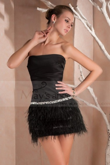 Straight cocktail dress - Short Prom Sheath Black Dress With Feathered skirt - C231 #1