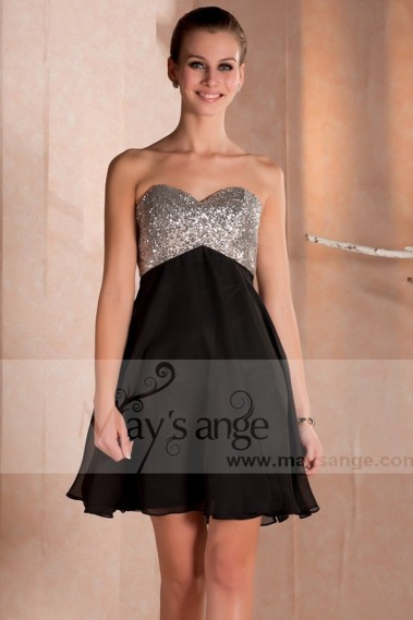 Long cocktail dress - Skyfall Black Homecoming Dress With Sequin bodice - C233 #1