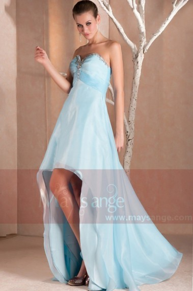 Long cocktail dress - Blue Strapless High-Low Prom Dress With Glitter Sweetheart Bodice - C235 #1