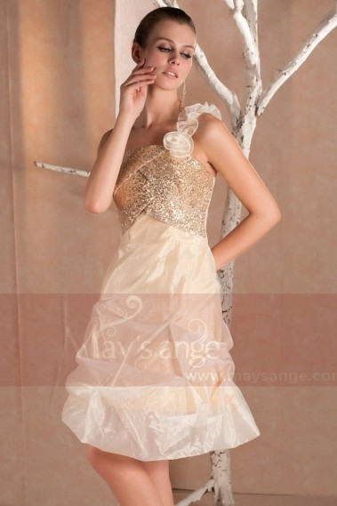 Cheap short dresses - Gold dresses short evening with gold sequins and flowers on shoulder - C236 #1