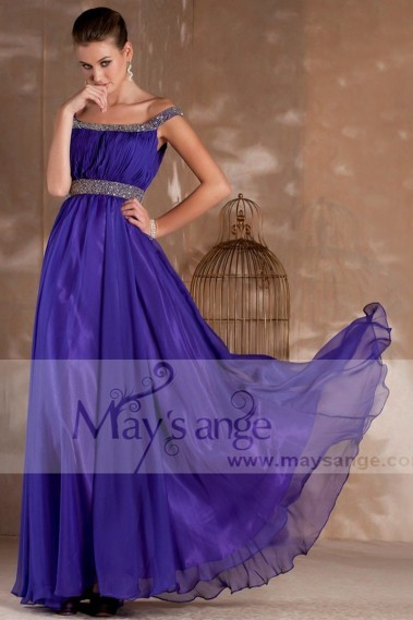 Evening Dress with straps - Long evening purple dress Kelly with two glitter straps - L241 #1