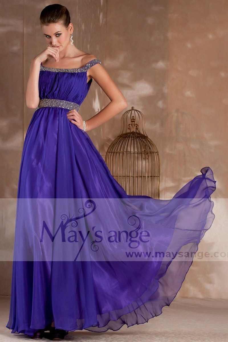 Long evening purple dress Kelly with two glitter straps - Ref L241 - 01