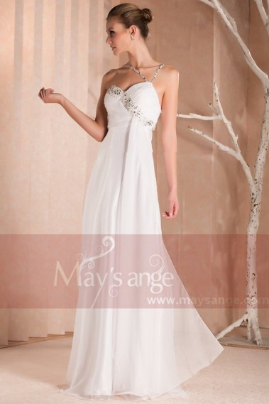Evening dress Sweetheart in white muslin and thin straps - L243 #1