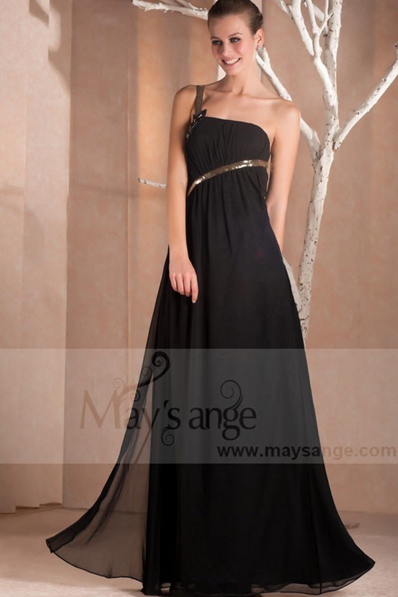 Graceful evening dress with one golden strass strap - Ref L247 - 01