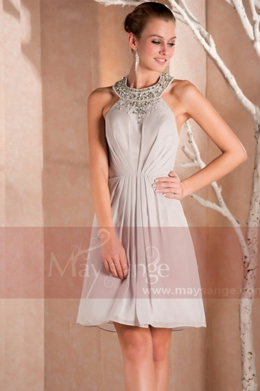 Short Chiffon A-Line Homecoming Party Dress With Glitter Necklace - C239 #1