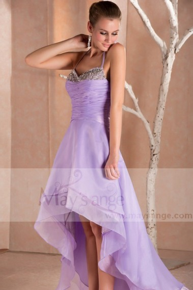 Long bridesmaid dress - Light Purple Asymmetrical Party Dress Rhinestone Bodice - C241 #1