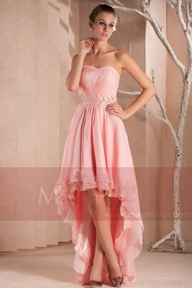 Fluid Evening Dress - SEXY COCKTAIL DRESS PINK ASYMETRICAL STYLE - C246 #1