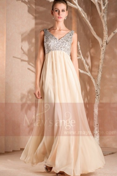 Evening Dress with straps - Evening Dress Sweet Cream With Silver Bodice - L220 #1
