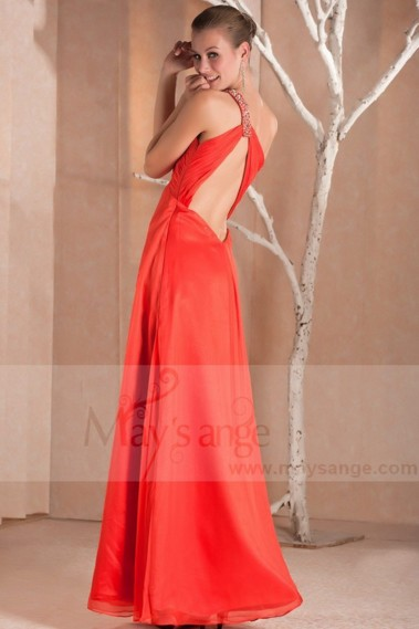 Red evening dress - Evening prom dress Spicy orange in muslin - L248 #1