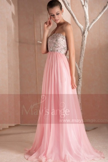 Fluid Evening Dress - Long Sleeveless Pink Prom Dress - L250 #1