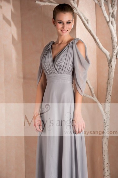 Fluid Evening Dress - Long Sleeve Gray Formal Dress - L257 #1