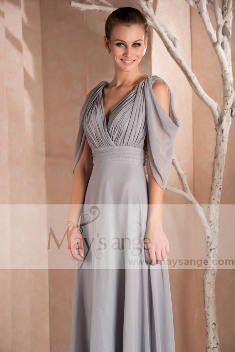 Long Sleeve Gray Formal Dress - Ref L257 - 01