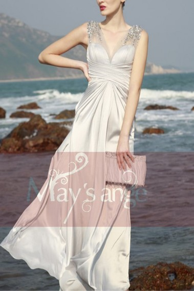 Formal evening dress Innocent in grey satin and see-through straps - L050 #1