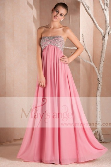 Pink Long evening Dress-Glitter Bodice