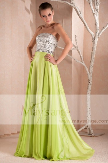 Green evening dress - GREEN PARTY DRESS LONG TOP SILVER - L260 #1
