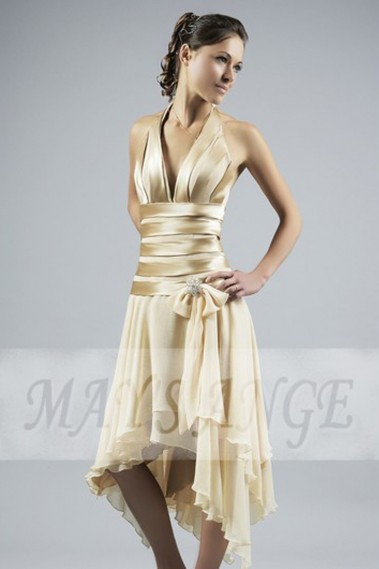 Backless cocktail dress - Golden Cocktail Party Dress - C017 #1