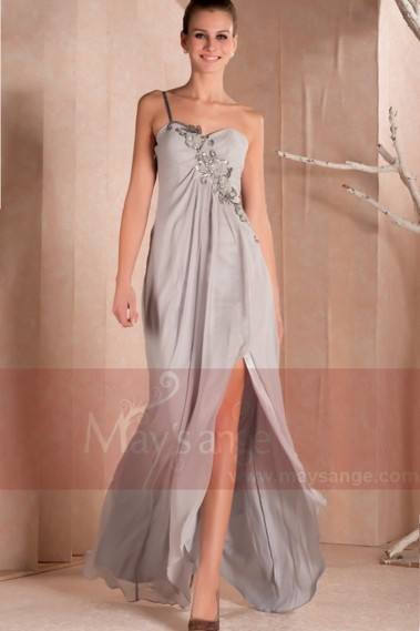 Asymetric evening dress Melany in muslin with one strap on flowers - L263 #1