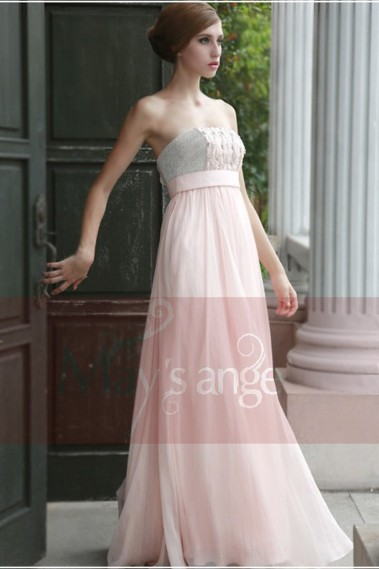 Pink evening dress - Long evening dress bustier Crystal salmon pink with glitters - L052 #1