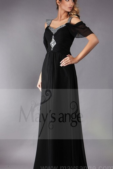 BLACK EVENING DRESS WITH OFF SHOULDER AND SHINY STRAPS - L193 #1