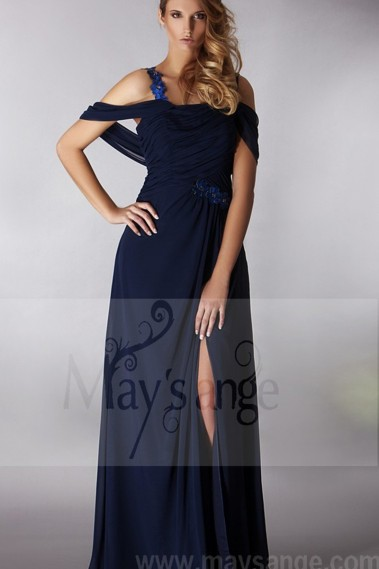 Fluid Evening Dress - BLUE PARTY DRESS WITH FLOWERS STRAP AND STOLE - L194 #1