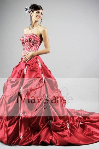 Princess Evening Dress - Red Princess Wedding Dress With Embroidery - P038 #1