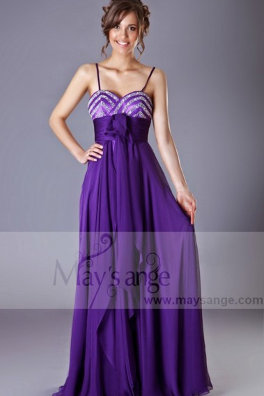 Violet Long Chiffon Evening Dress With Glitter Bodice - L203 #1