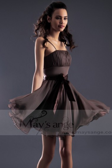 Brown Semi-Formal Party Dress With Spaghetti Straps - C139 #1
