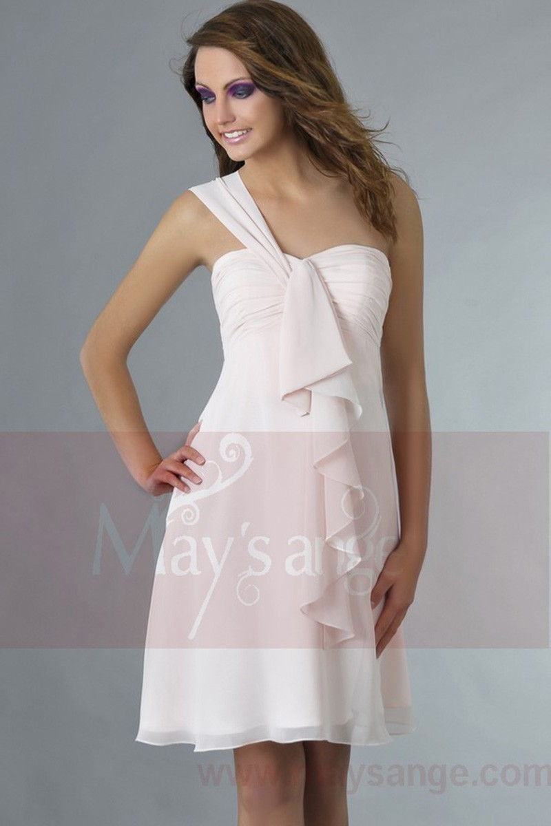 Short Pink Homecoming Dress One Shoulder With Ruffle - Ref C143 - 01