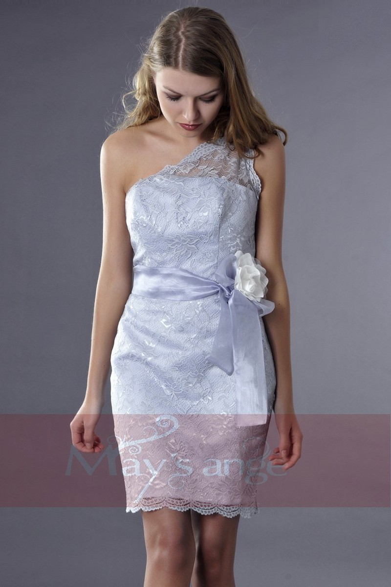 Asymmetrical Lace Embroidered Silver Party Dress - Ref C174 - 01