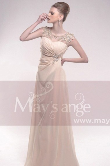 Evening Dress with straps - Evening dress, beige Brilliance - L210 #1