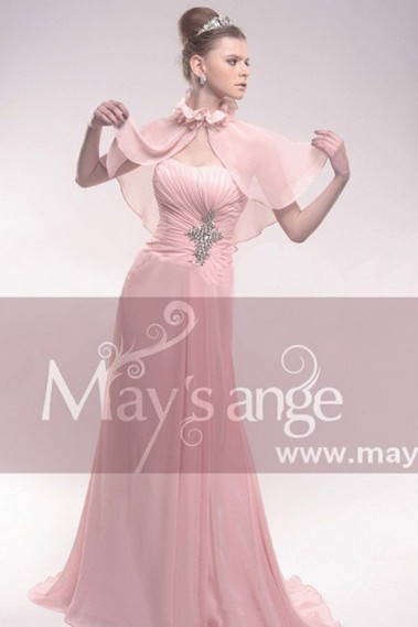 enchanting long pink evening gowns with a small cape - L211 #1