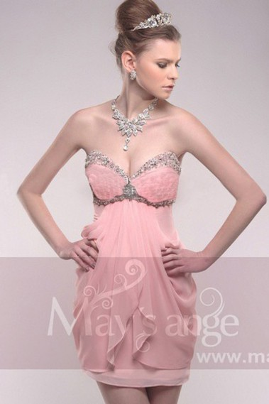 Short cocktail dress - Strapless Sweetheart Ball Gown With Rhinestones - C210 #1