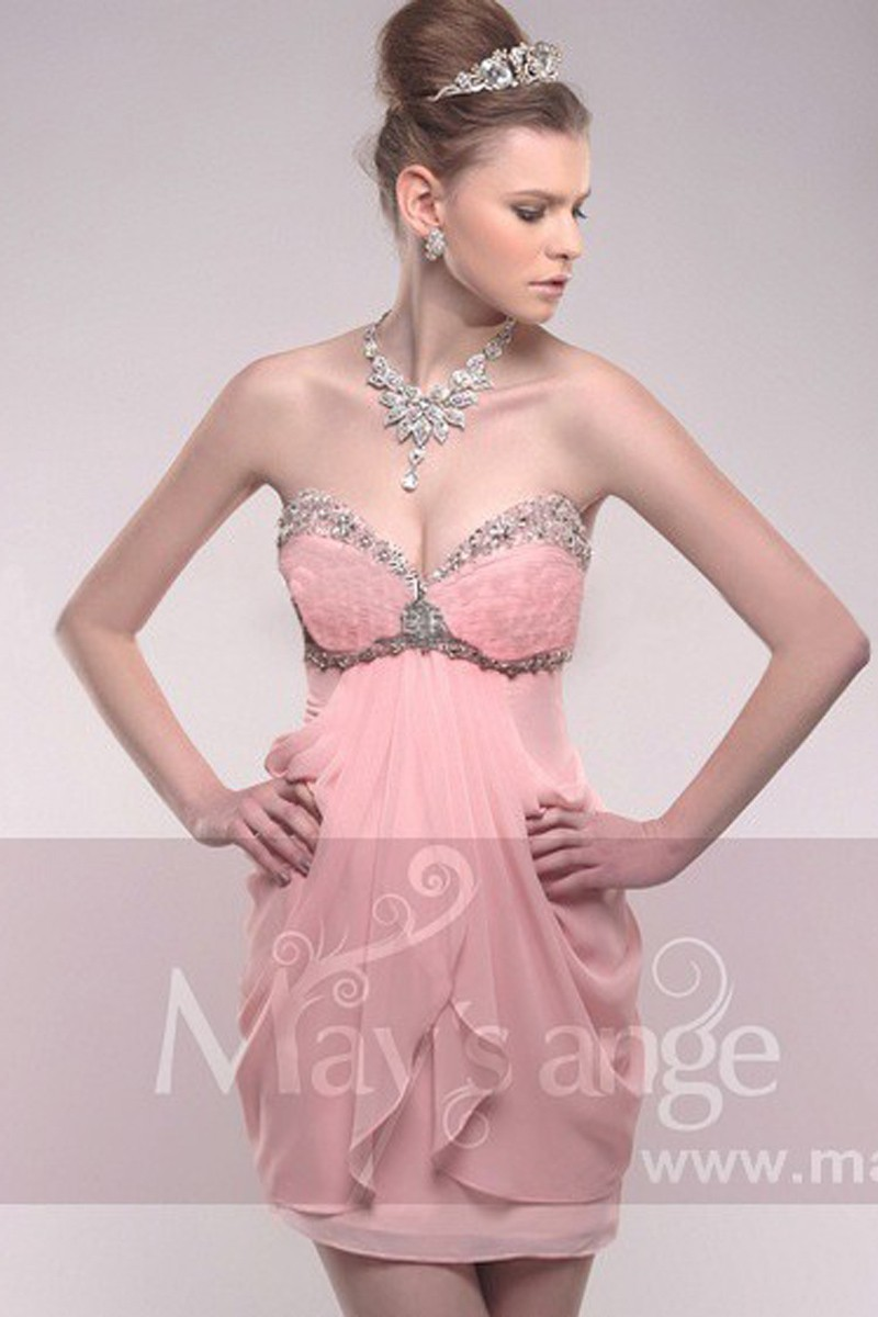 Robe Courte De Soiree Coquette En Mousseline Rose Pale Ref C210 Robe De Cocktail