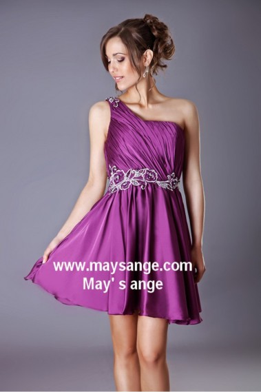 Long cocktail dress - One Shoulder Purple Satin Cocktail Dress - C213 #1