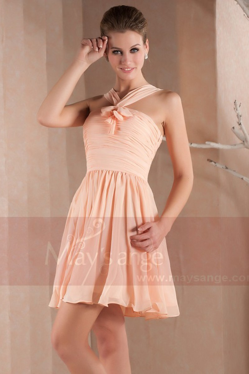 Peach Short Homecoming Dress With Crossed Strap - Ref C206 - 01